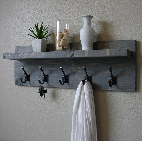 Rustic Weathered Gray 5 Hanger Hook Coat Rack with Floating Shelf