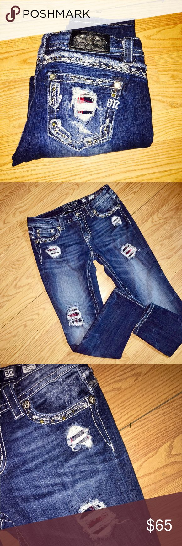 ❤️Miss Mes Size 30❤️ Size 30 skinny inseam 33. Factory Distressed with red flannel put in place under holes. These are rare and super cute 😍 trade for other Miss mes or rocks size 29 or 30 Miss Me Jeans Skinny