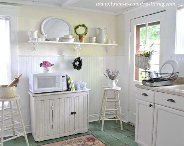 Bead Board And Open Shelving Creates A Farmhouse Style Kitchen Part 59