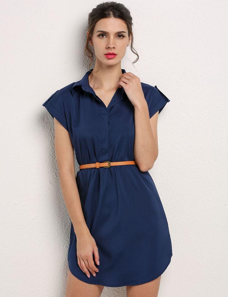 Navy blue Cap Sleeve Stretch Chiffon Shirt Dress With Casual Belt