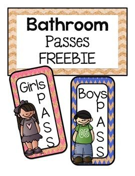 *FREEBIE* Bathroom Passes.  Can be worn as a necklace with a strong string like twine or put a magnet on back.  Don't forget to laminate them first.
