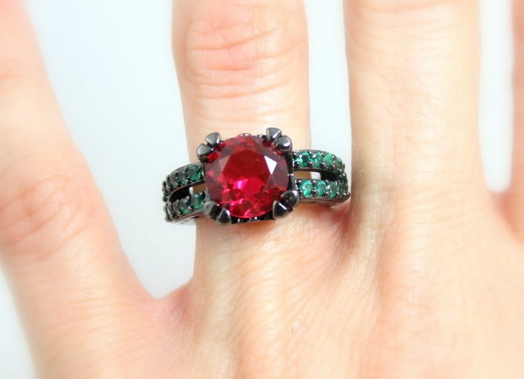 Black Ring Gold Filled Ring Ruby Emerald Stones Wedding Engagement Anniversary Promise Rings Goth Unique Jewelry Women Gift for her