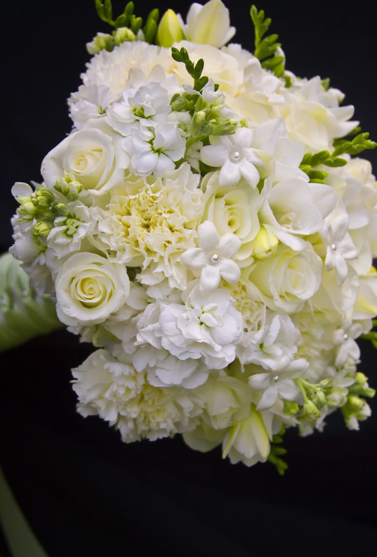 Best 25 stephanotis bouquet ideas on pinterest stephanotis roses carnations freesia and stephanotis with pearl centers dhlflorist Images