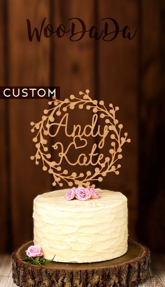Custom Name Cake Topper Custom Wedding Cake Topper Rustic
