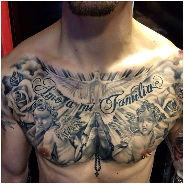 Finished chest piece by Steli on @gazilli0naire @fulhamtattoocentre #fulhamtattoo #fulham #religioustattoos #londontattoo