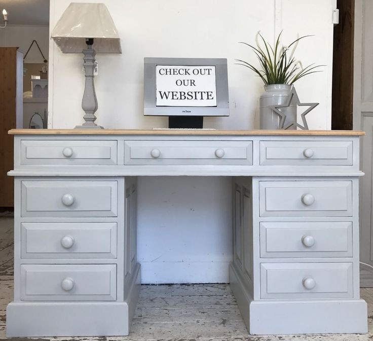 Painted in : Farrow & Ball 'Pavilion Grey '. Wonderful large solid pine pedestal desk. Features a natural pine work top, and comes in 3 parts for transport. This large desk has a good sized work surface, perfect for a computer and paper work etc. | eBay!