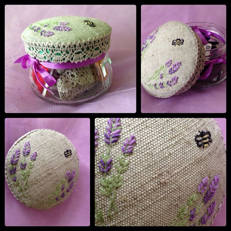 Usual glass jar decorated by me with lavender flowers.