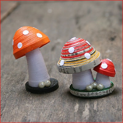Paper Mushrooms  Quilled