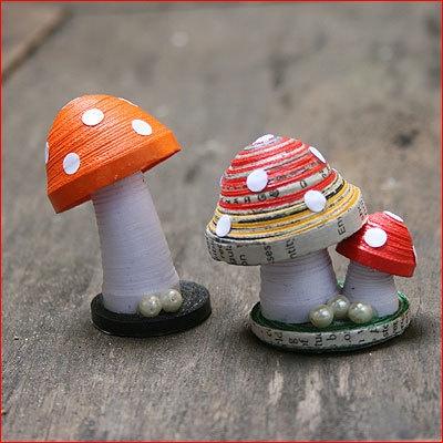 Paper Mushrooms Quilled