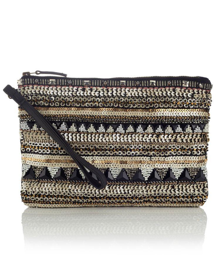 Rhiad Geo Zip Top Clutch Bag