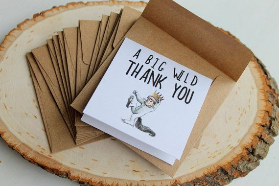 10 small where the wild things are themed thank you cards for your party guests.  3x3inch kraft brown envelopes with thank you notes A Big Wild