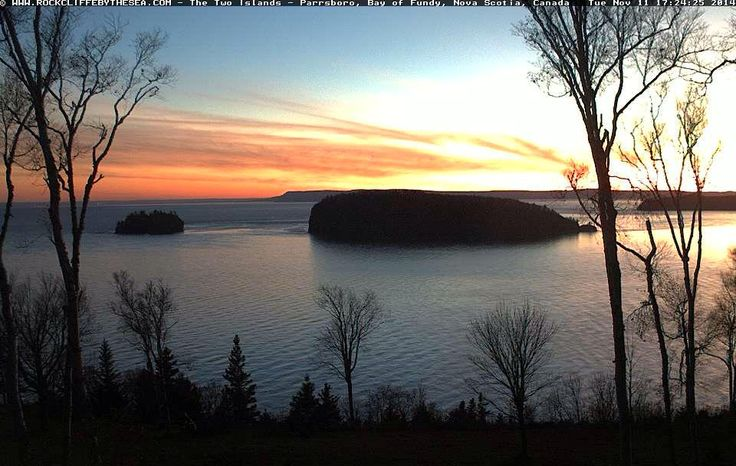 #Sunset at #RockcliffeByTheSea, #Parrsboro , #NovaScotia - November 11, 2014  http://www.novascotiawebcams.com/en/webcams/rockcliffe-by-the-sea/
