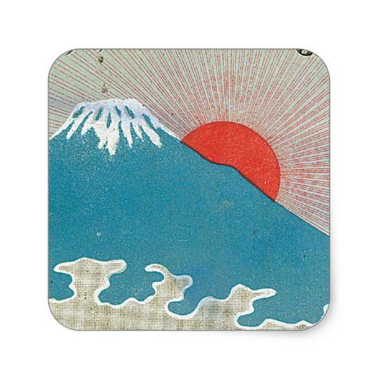 富士山および日曜日のヴィンテージの日本のな絹のラベル 丸形シールステッカー