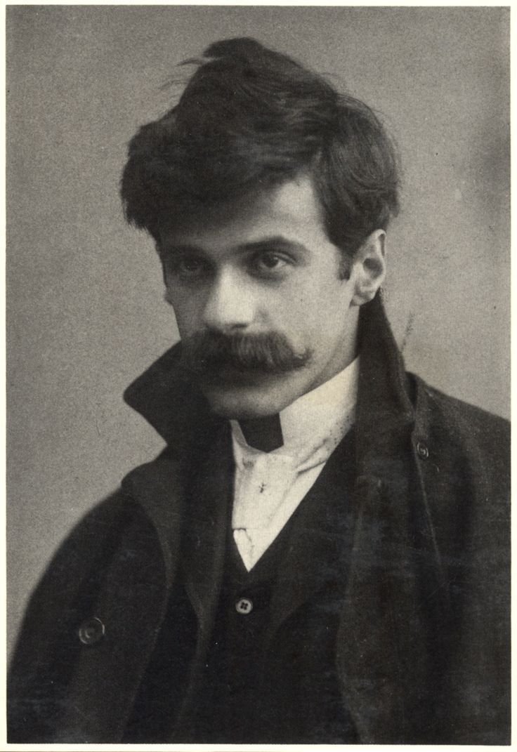 "Alfred Stieglitz self-portrait, c. 1894, age 30. Stieglitz began an affair with Georgia O'Keefe in 1918. He took nude photos of her in his apartment, where his wife eventually found them, so Stieglitz and O'Keffe moved into a studio of their own.  A friend described them as ""two teenagers in love. Several times a day they would run up the stairs to their bedroom, so eager to make love that they would start taking their clothes off as they ran."""