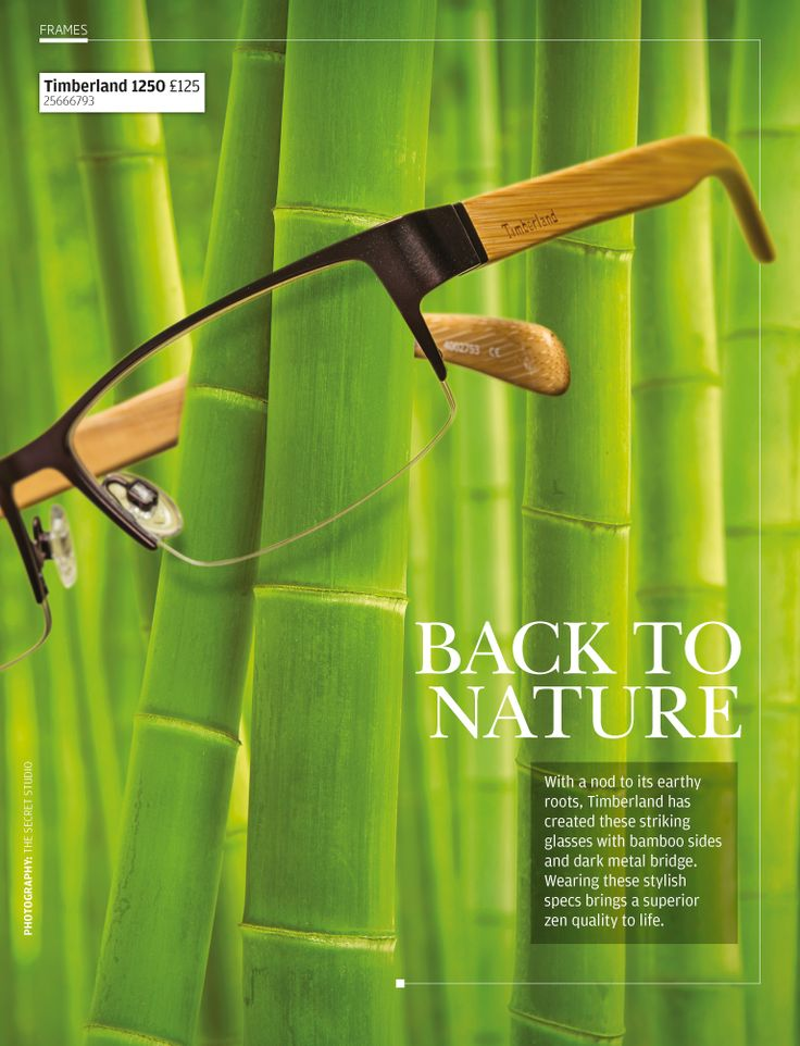 With a nod to earthy roots, Timberland has created these striking glasses with bamboo-effect sides and dark metal bridge.