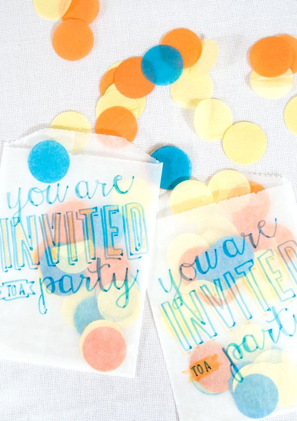 DIY: Confetti Filled Invitation #SkyZoneMKE #birthdayparty