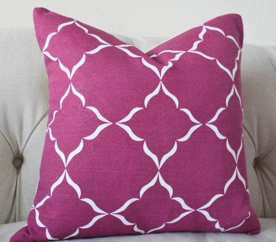 Radiant Orchid Pillow Cover - Raspberry Purple Geometric Pillow- Dark Pink Throw Pillow - Dark Magenta Pillow -Radiant Orchid - Quatrefoil