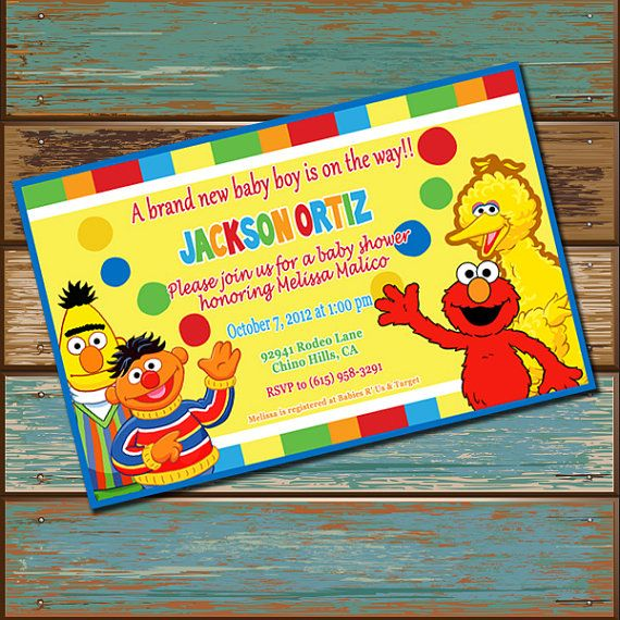 sesame street baby shower invitation by dashingdigitaldesign