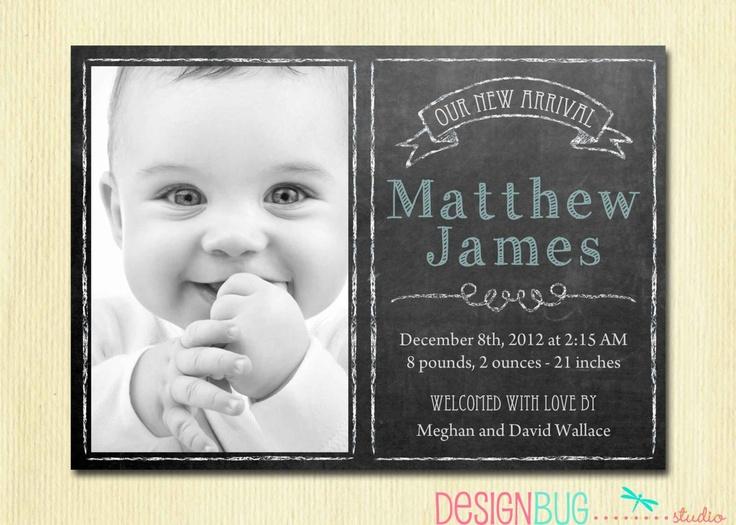 Baby Boy Birth Announcement - Modern Chalkboard Newborn Announcement- DIY Custom Printable. $12.00, via Etsy.