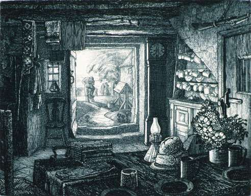 Gamekeeper's Cottage 1928 Print Etching by Robin Tanner