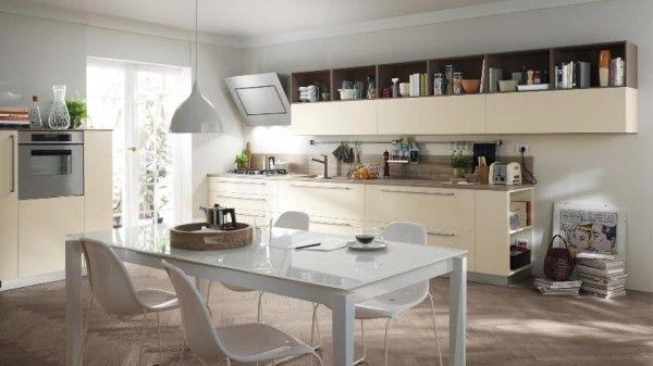 helle moderne küche design essbereich creme weiß scavolini