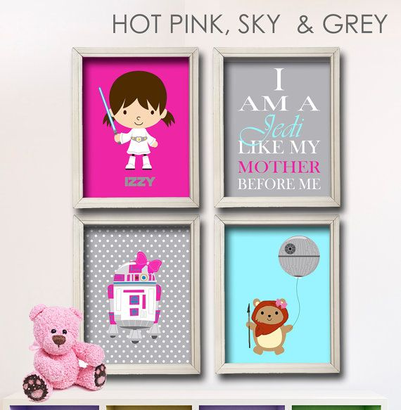 Baby Girl Star Wars Nursery Art- Girl Room Decor - 4 Print Set - Star Wars Decor - Baby Shower Gift - Nursery Play Room-Girl Wall Art GR-118