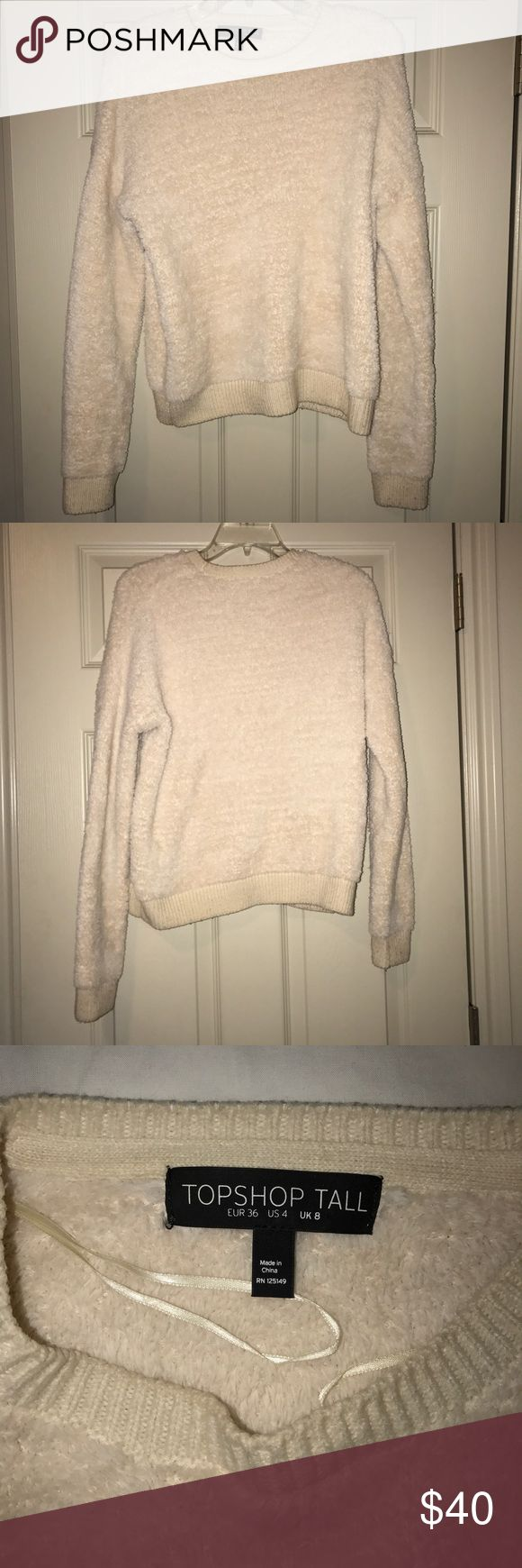 Topshop Tall Fuzzy Sweater SOFTEST SWEATER. Great condition! Cream color, so comfy and really warm. Topshop Sweaters Crew & Scoop Necks