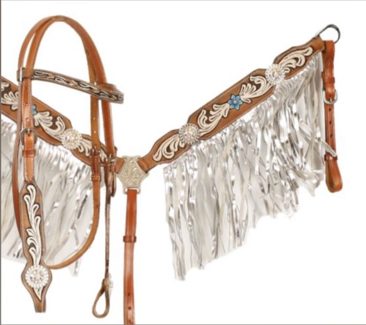 Showman Rose Painted Leather Browband Headstall /& Fringe Breast Collar Set