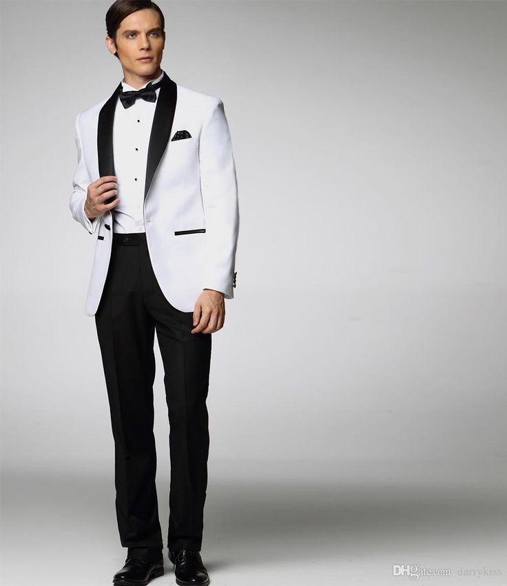 2017 Clic Groom Tuxedos Custom Made Wedding Suit For Men White Jacket With Black Satin Lapel Pant Tie S Suits Dk