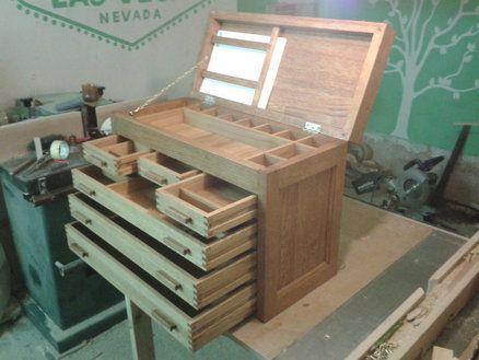 caja de herramientas trabajadores de la madera