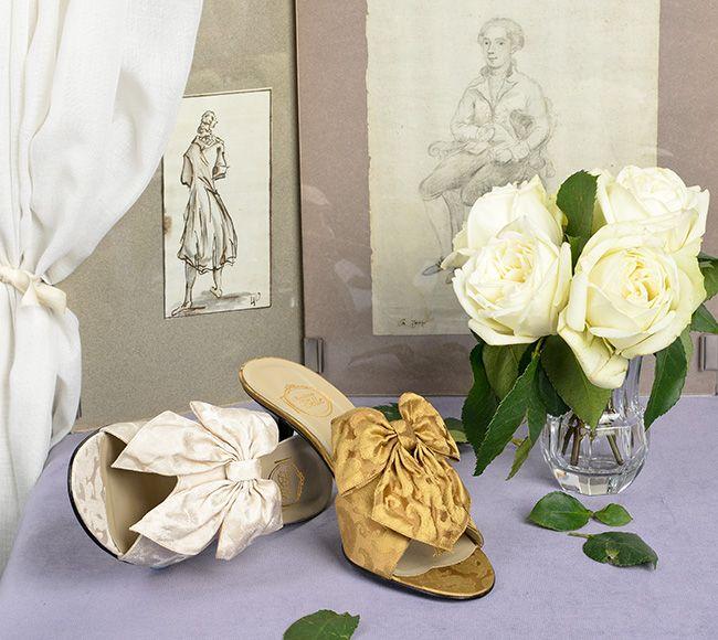 """""""La Valse de Nacre"""" & """"Bal à Venise"""" in Rubelli mother-of-pearl & gold silk brocades http://store.leschaussonsdelabelle.com"""