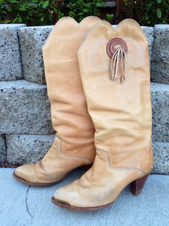 Vintage Women's Cowboy Boots Size 8.5 Brown Tassle Tall Cowgirl Boots Brown Rodeo Vintage Boots