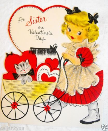 Schön Vintage Valentineu0027s Day Card For Sister Cute Girl Kitten Sparkles