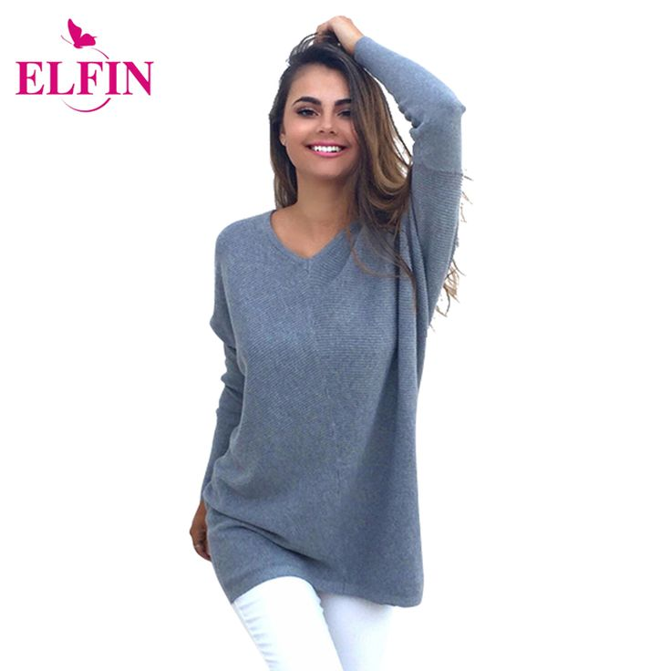 Autumn And Winter Women Sweaters Knitted Loose Sweater Long Sleeve Pullover Solid V Neck Casual Tops Womens Clothes LJ5409R