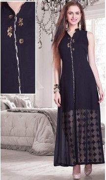 Black Color Georgette Achkan Style Designer Readymade Salwar Kameez | FH513078110 #salwar, #kameez, #readymade, #anarkali, #patiala, #pakistani, #suits, #online, #stitched, #indian, #dress, #material, #shopping, #fashion, #boutique, #mode, @heenastyle , #designer , #pakistani , #evening , #wedding , #casual , #palazzo , #patiyala , #punjabi , #churidar , #narrow