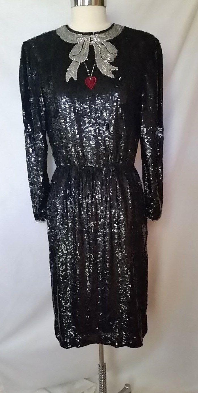 Oscar de la Renta 1980's Trompe L'oeil Black Sequined Dress with Bow and Heart | eBay