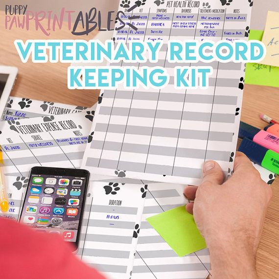 Printable Veterinary Record Keeping Kit - Instant Download!  This printable kit includes five sheets to help you keep records for all your pets veterinary care. Start with the info sheet with room for both your regular vet and emergency vets information. Note any allergies right up front to always keep that information easily accessible. Track any lab tests plus results! Vaccination Record sheet includes space to note the date of all vaccinations given, plus when boosters will be due. Record…