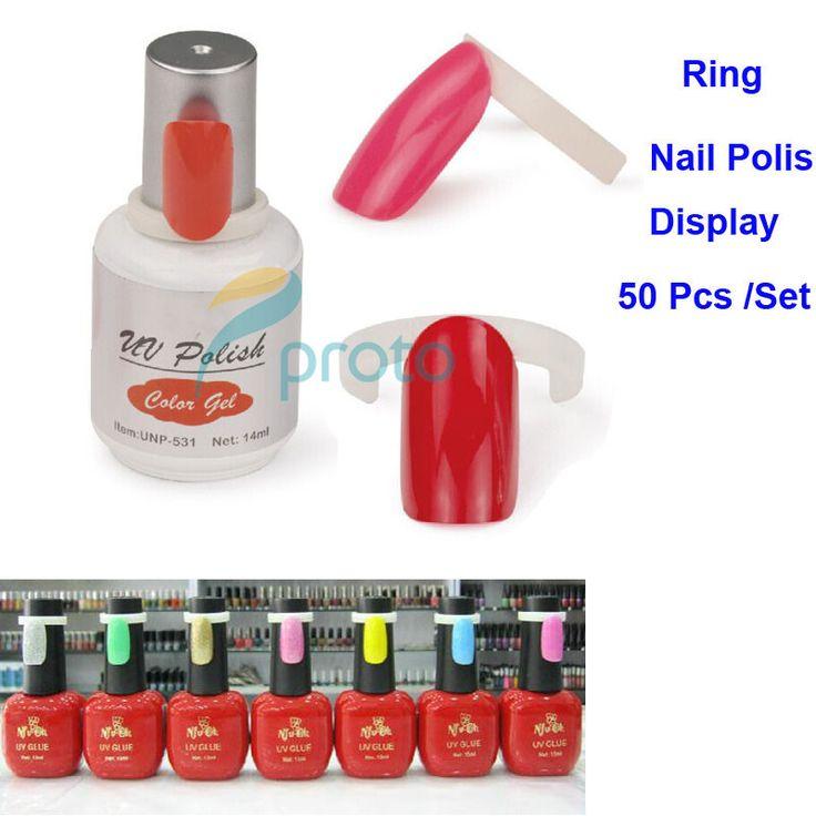 50pcs/set Polish UV Gel Color Pops White Display Ring For Nail Art Colour Chart Display DIY Tools Sample Nail Accessories F0149