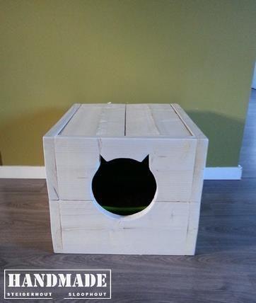 Steigerhout whitewash - ideale oplossing voor je kattenbak! Handmade WJ