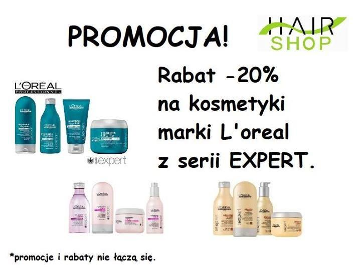 Nowa promocja na stoisku Hair-Shop   Rabat 20% na kosmetyki marki L'oreal z serii EXPERT.  https://www.facebook.com/hs.hairshop