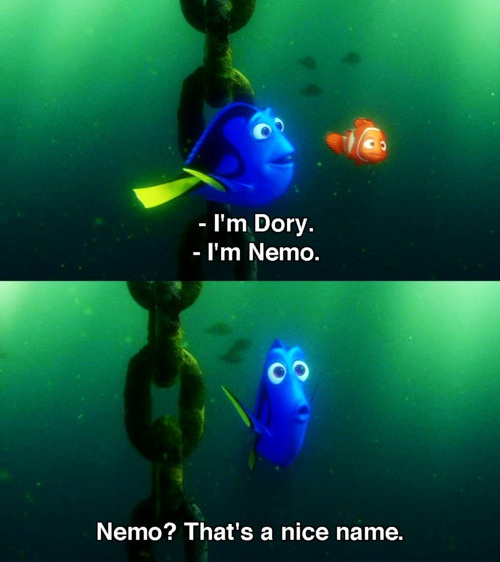 That moment when you think that Dory will realise who Nemo is and take him to his dad... and then she doesn't!