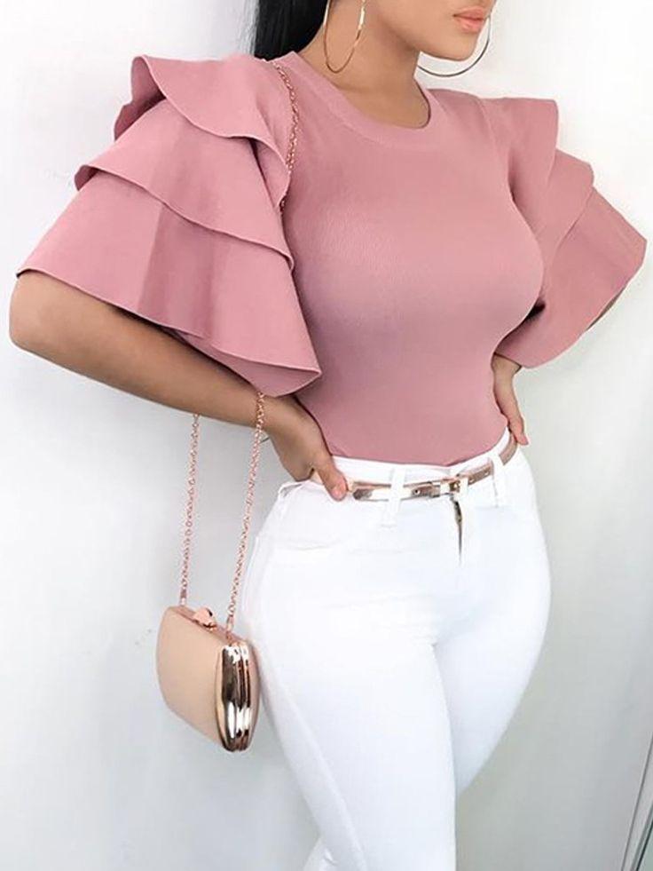 Shop Blouses & Shirts Crew Neck Ruffle Sleeve Blouses Tops