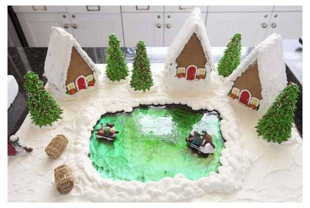 Gingerbread house with candy glass ice rink