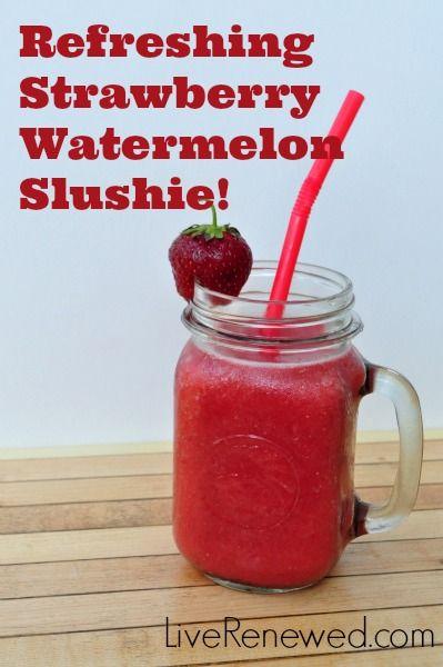 Strawberry Watermelon Slushies! {Green in 365: Summer}