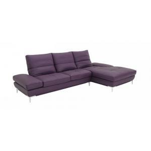 Dahlia  Purple Leather Sectional Sofa