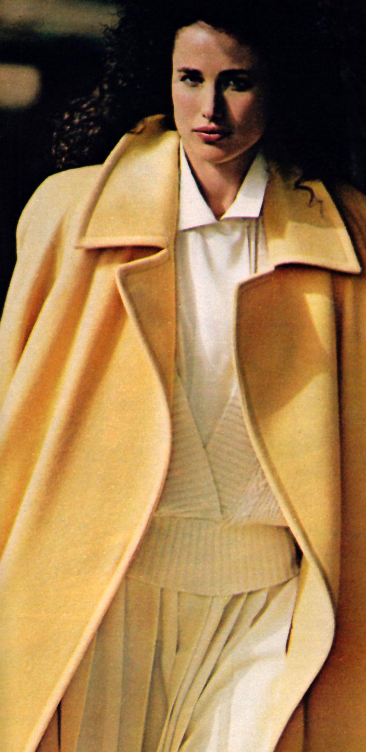Andie McDowell Linda Allard/Ellen Tracy, Mademoiselle magazine, September 1985.