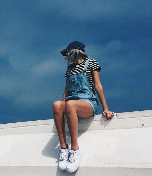 hat cap baseball striped tee t-shirt short overalls style fashion blogger OOTD
