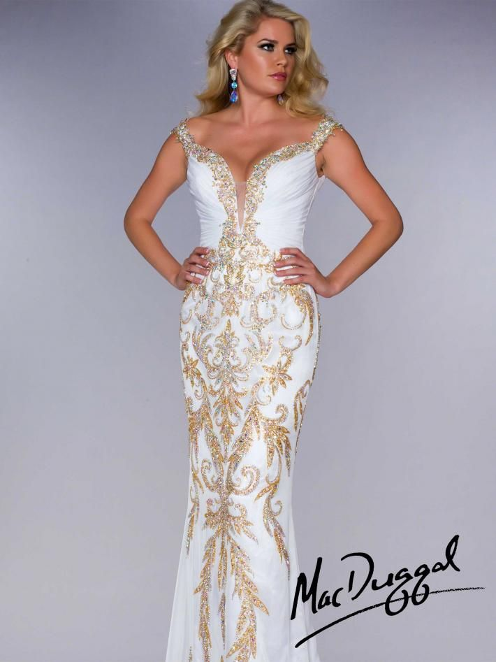 Mac Duggal White Prom Dresses