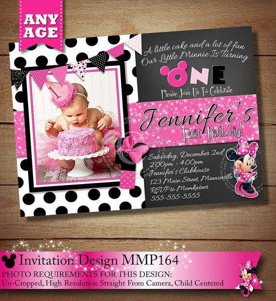 SALE - HUGE SELECTION Minnie Mouse Birthday Invitation, Pink Polka Dot Minnie Mouse Invitation, Minnie Mouse Invitation, Printable Occasion on Etsy, $11.00