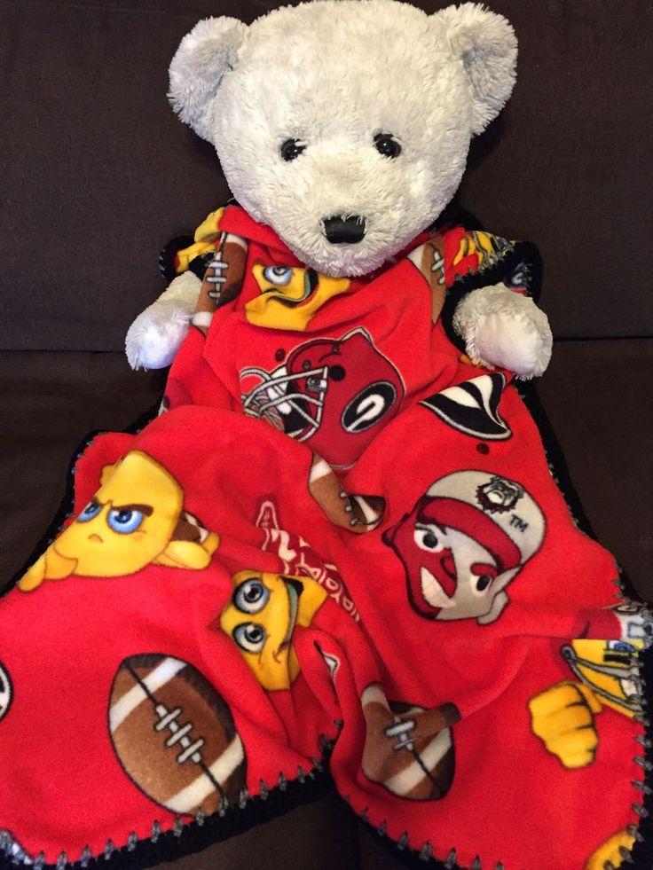 "Georgia Bulldogs Red Emoji College Football Crochet Edged Fleece Blanket 36X30"" $22.95 #GeorgiaBulldogs #babyblankets #sports"